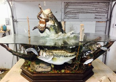 large-mouth-bass-and-bull-frog-coffee-table-by-vance-montgomery